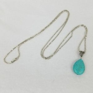 Jewelry - Turquoise Stone Pendant Sterling SILVER Necklace